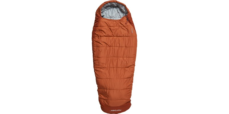 knuth plus 5 110435 nordisk junior sleeping bag burnt red front short