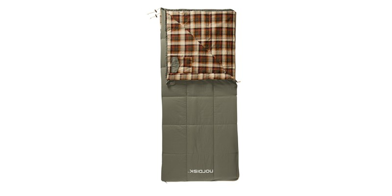 almond junior plus 10 141006 nordisk rectangular shape sleeping bag bungy cord brown front open top