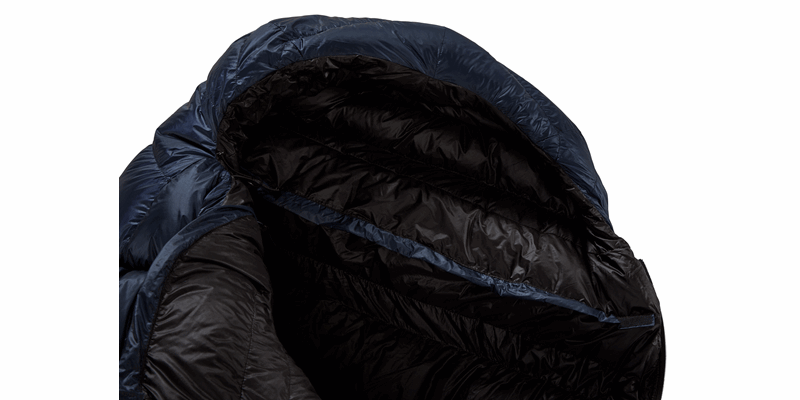 passion five y down sleeping bag mood indigo 09 detail