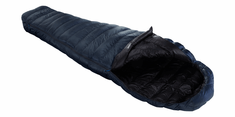 passion three y down sleeping bag mood indigo 04 horizontal open