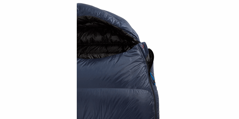 passion three y down sleeping bag mood indigo 05 detail