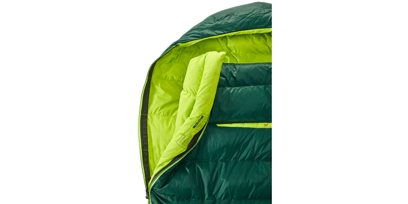 tension mummy 500 zip right 84120 84130 nordisk down sleeping bag scarab lime 05_low res