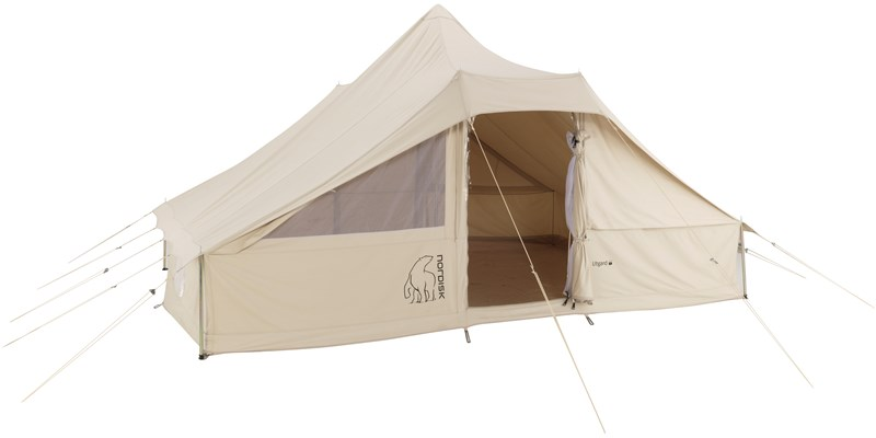 utgard 13 2 m2 142010 nordisk classic retro square tent technical cotton floor front open