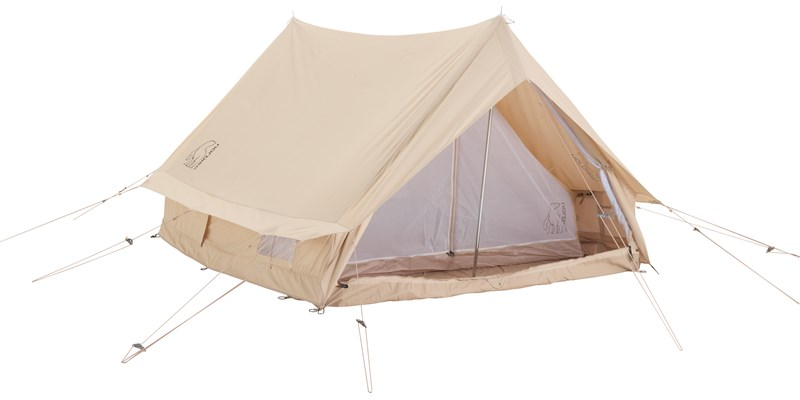 ydun 5 5 m2 142022 nordisk classic retro scout tent technical cotton with a sewn in floor cabin front open