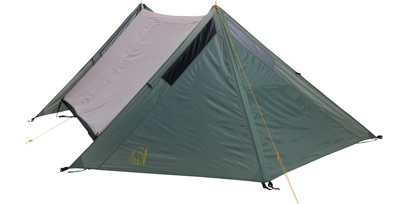faxe 3 pu apsis 107149 nordisk classic asymmetric three man tent dusty green front alone
