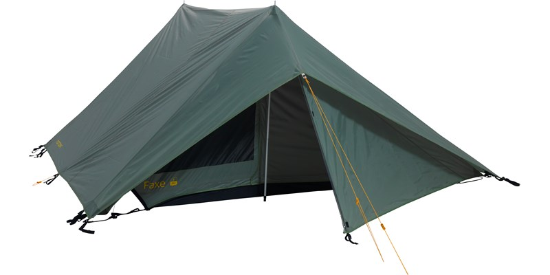 faxe 3 pu apsis 107149 nordisk classic asymmetric three man tent dusty green front open