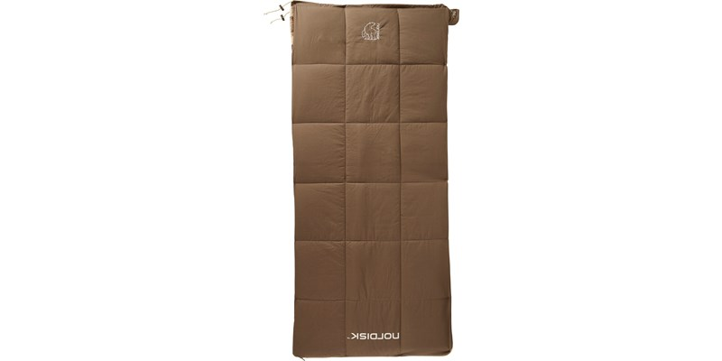 almond junior plus 10 141006 nordisk rectangular shape sleeping bag bungy cord brown front
