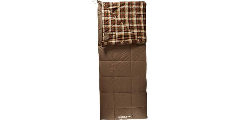 almond minus 2 141003 nordisk rectangular shape sleeping bag bungy cord brown front open top