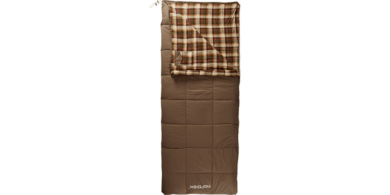 almond plus 10 141004 nordisk rectangular shape sleeping bag bungy cord brown front open top
