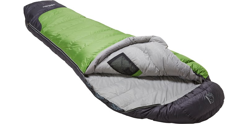 celsius minus 3 110204l nordisk mummy shape sleeping bag peridot green slanted open