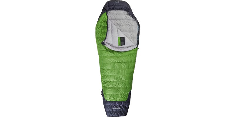 celsius plus 4 110201l nordisk mummy shape sleeping bag peridot green front open