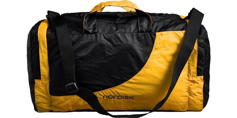 billund 133085 nordisk extreme packable travel bag 45 litres mustard yellow black front