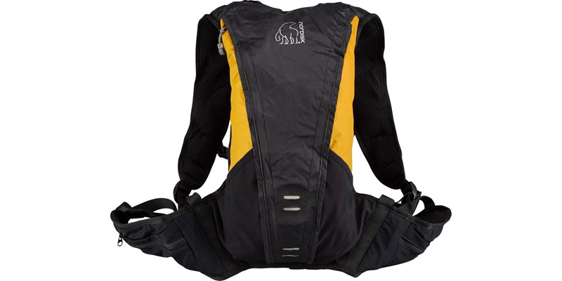 rana 133084 nordisk extreme packable running bag 8 litres mustard yellow black front