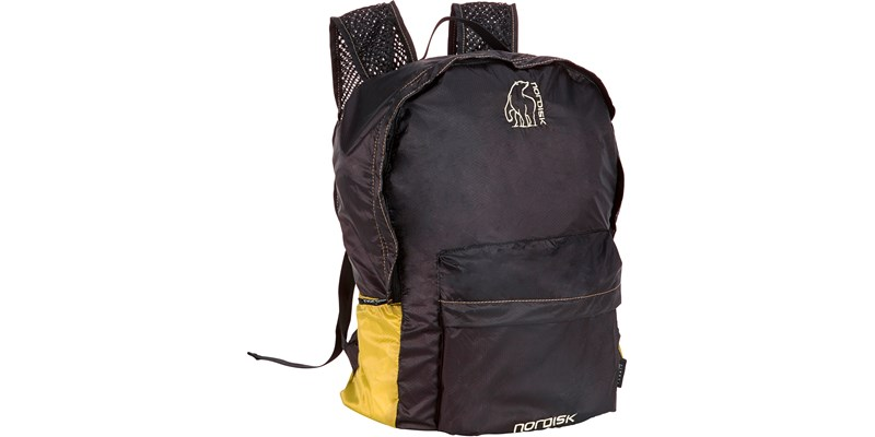ribe 133018 nordisk extreme packable rucksack daypack 20 litres mustard yellow black slanted