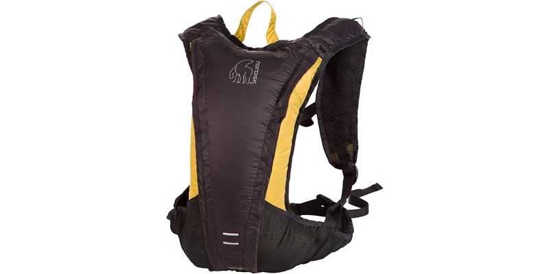 rana 133084 nordisk extreme packable running bag 8 litres mustard yellow black slanted