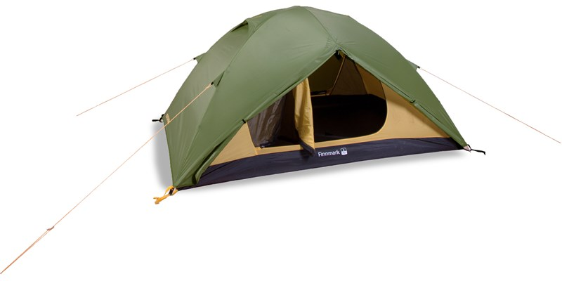 finnmark 2 pu 122036 nordisk classic geodesic two man tent dusty green front left open