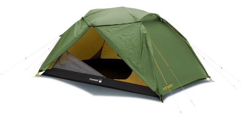 finnmark 2 pu 122036 nordisk classic geodesic two man tent dusty green front right open