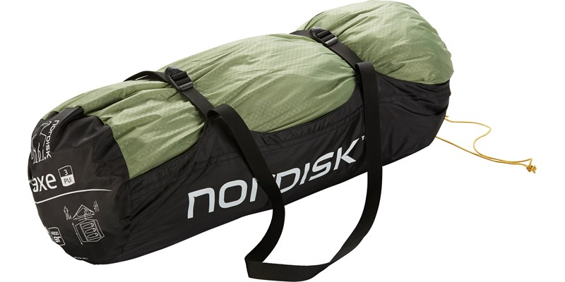 faxe 3 pu 122028 nordisk classic asymmetric three man tent dusty green packsack