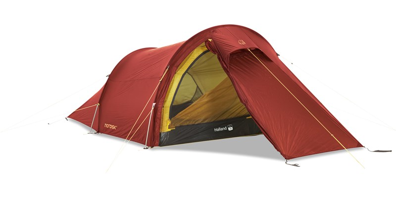 halland 2 lw 151016 nordisk extreme lightweight two man tent burnt red front left open