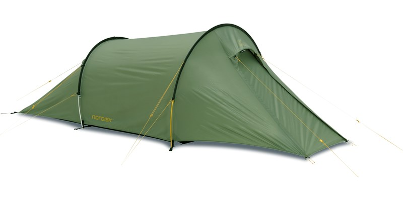 halland 2 pu 122035 nordisk classic tunnel two man tent dusty green front left
