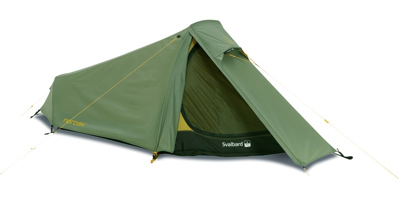 svalbard 1 pu 122026 nordisk classic tunnel one man tent dusty green front left open