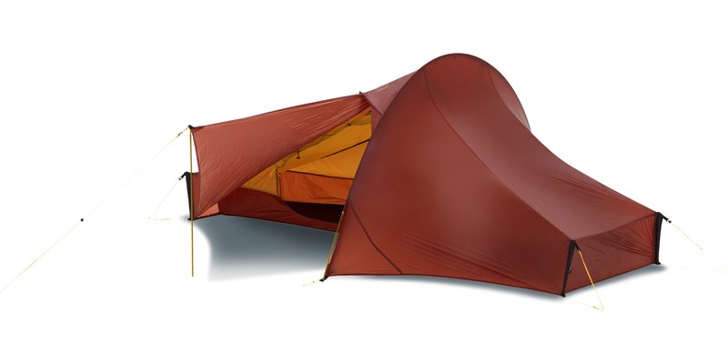 telemark 1 lw 151012 nordisk extreme lightweight one man tent burnt red front left open