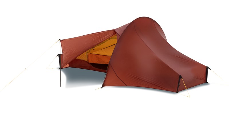 telemark 1 ulw 151011 nordisk ultra lightweight one man tent burnt red front left open