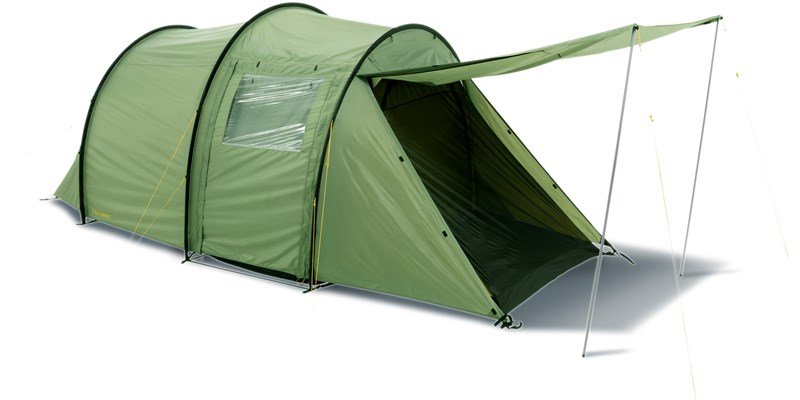 reisa 4 pu 122030 nordisk classic tunnel four man tent dusty green front left open