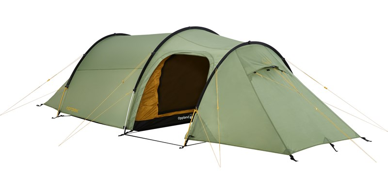 oppland 2 pu 122037 nordisk classic tunnel two man tent dusty green front left open