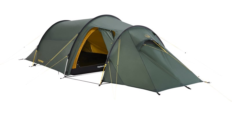 oppland 2 si 112032 nordisk classic tunnel two man tent forest green front left open