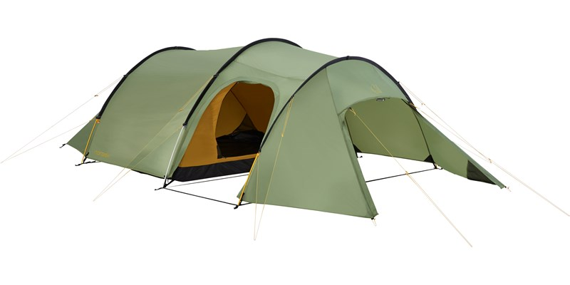 oppland 3 pu 122038 nordisk classic tunnel three man tent dusty green front left open