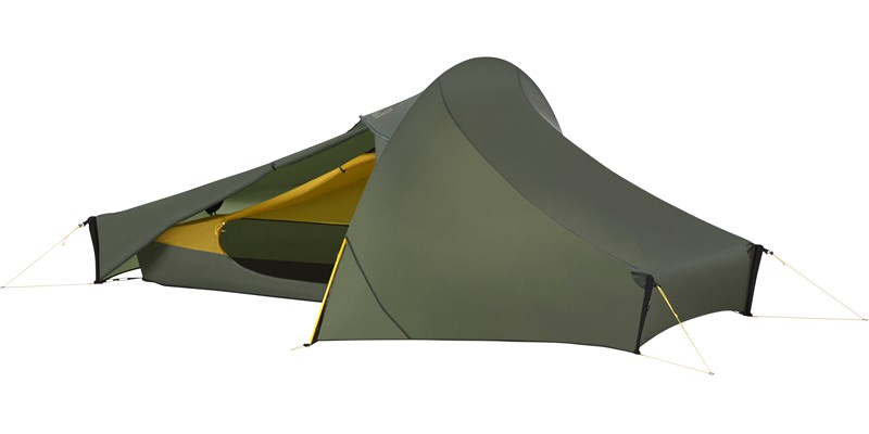 telemark 1 lw 151010 nordisk extreme lightweight one man tent forest green front left open