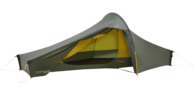 telemark 1 lw 151010 nordisk extreme lightweight one man tent forest green side open
